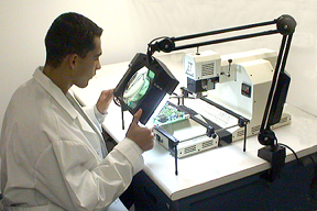 Magnifying lights, BGA inspection, illuminated magnifiers, ESD-Safe Magnification.